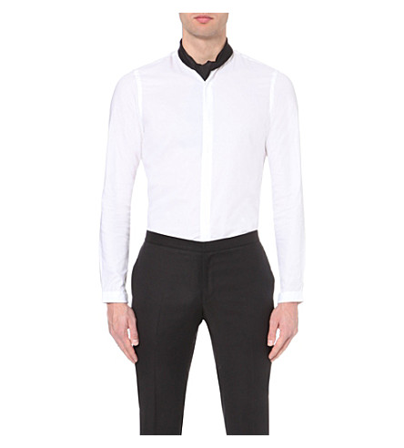 The kooples slim fit collarless cotton shirt for Collarless white shirt slim fit
