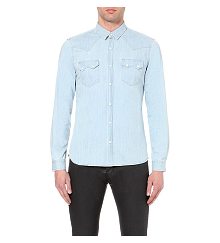 d46a6dc320 THE KOOPLES Slim-fit denim shirt (Blue+washed