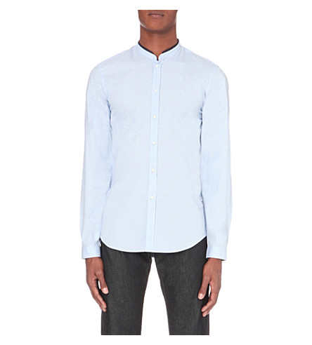 THE KOOPLES Mandarin collar shirt (Light+blue