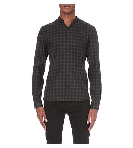 THE KOOPLES Mandarin collar check shirt (Kaki+grey
