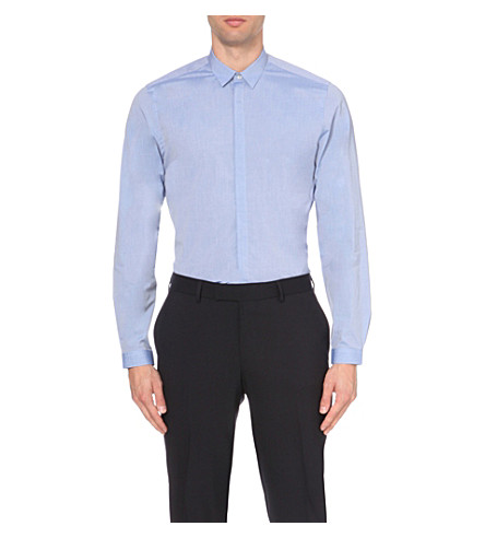 THE KOOPLES Fitted cotton-blend shirt (Blue+sky