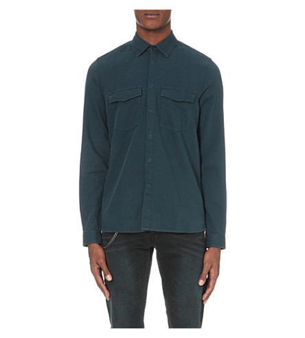 THE KOOPLES Concealed popper-fastened denim shirt (Blue