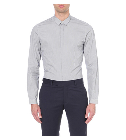 THE KOOPLES Pinstripe cotton shirt (Navy+-+white