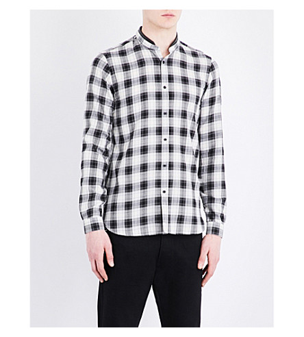 THE KOOPLES Fitted leather-detail band-collar pure-cotton shirt (Bla28