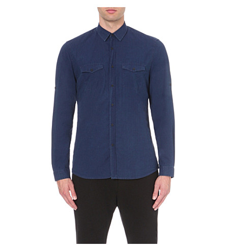 THE KOOPLES Regular-fit cotton shirt (Dark+blue