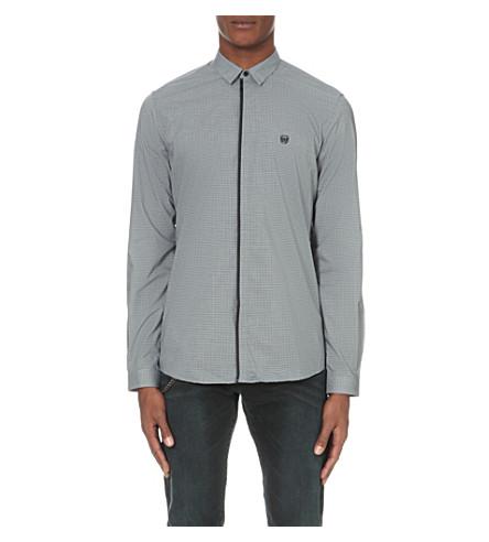 THE KOOPLES Micro-check cotton shirt (Light+blue