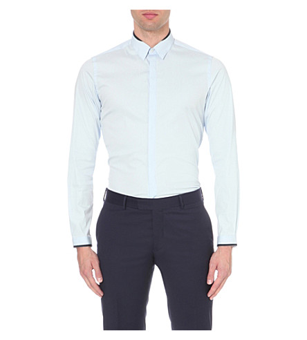 THE KOOPLES Contrast-trim cotton shirt (Blue