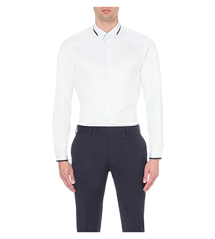 THE KOOPLES Contrast-trim cotton shirt (Light+blue