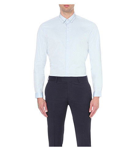 THE KOOPLES Contrast-detail cotton shirt (Light+blue