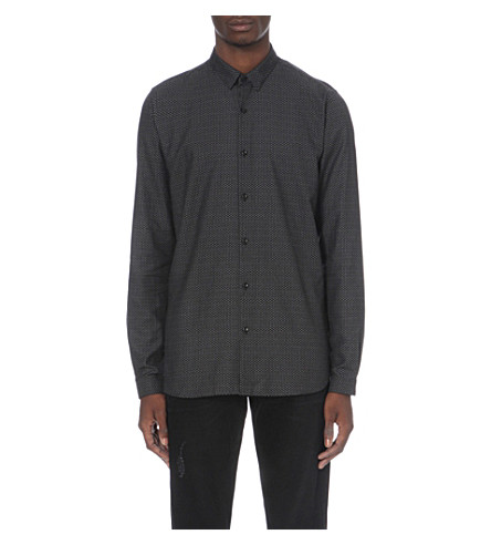THE KOOPLES Circle print fitted shirt (Black+grey