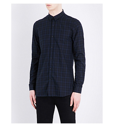 THE KOOPLES Fitted checked pure-cotton shirt (Blu23