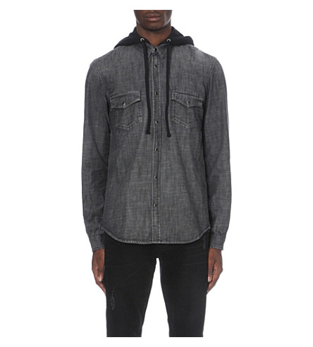 THE KOOPLES Hooded denim shirt (Black+washed