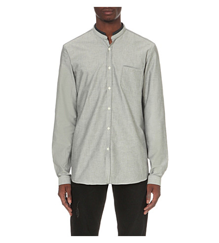 THE KOOPLES Classic-fit cotton and leather shirt (Grey