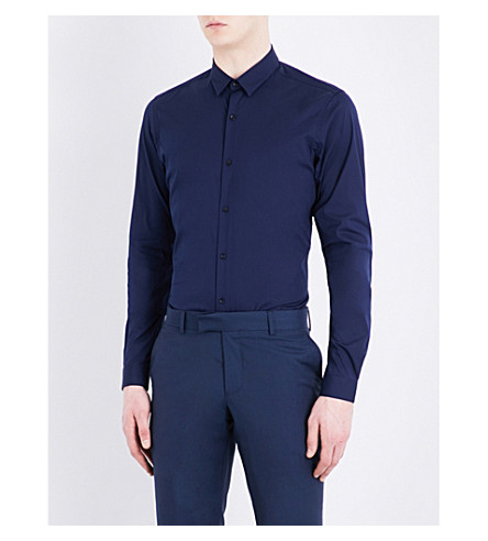THE KOOPLES Fitted spread-collar cotton-blend shirt (Blu19