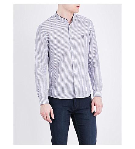 THE KOOPLES SPORT Striped linen and cotton-blend shirt (Blu21