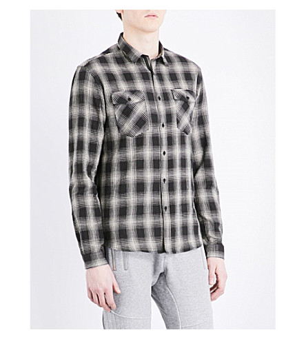THE KOOPLES SPORT Checked classic-fit cotton and linen-blend shirt (Bla28