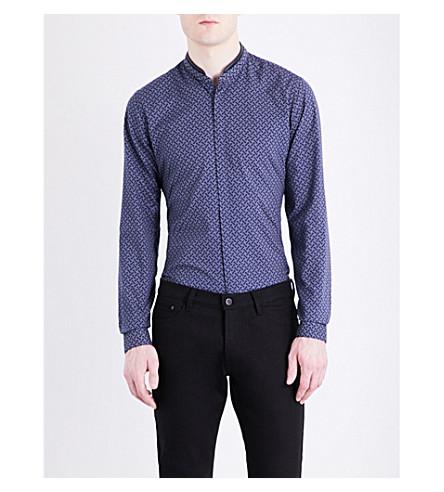THE KOOPLES Micro-print cotton shirt (Blu01