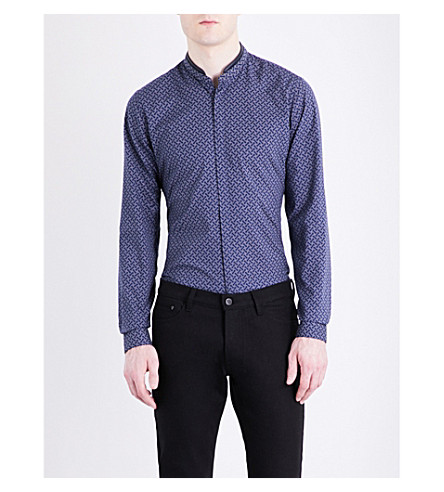 THE KOOPLES Cross-print cotton shirt (Blu01