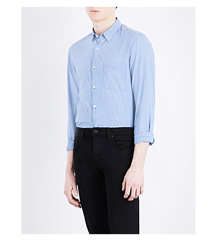 THE KOOPLES Fitted cotton and linen-blend shirt (Blu03
