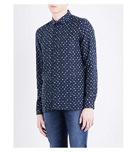 THE KOOPLES Floral-print fitted linen shirt (Nav48