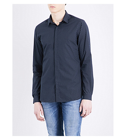 THE KOOPLES Micro-print fitted cotton shirt (Nav31