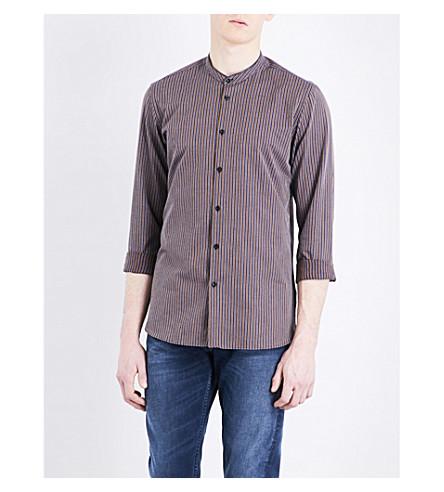 THE KOOPLES Mandarin-collar striped cotton and linen-blend shirt (Nav35