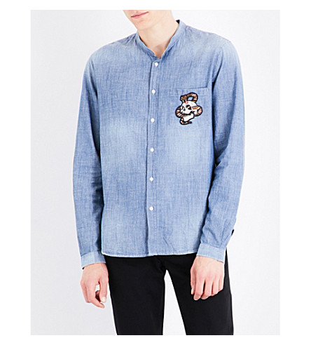 THE KOOPLES Snake embroidered regular-fit denim shirt (Blu88