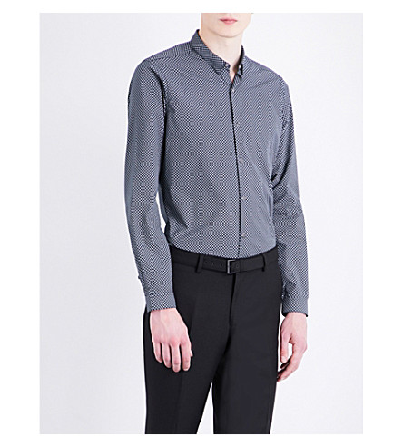 THE KOOPLES Geometric-print fitted stretch-cotton shirt (Nav48