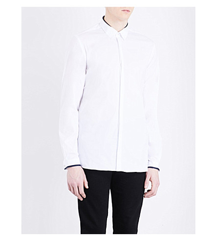 THE KOOPLES Grosgrain-trim classic-fit cotton-blend shirt (Whi01