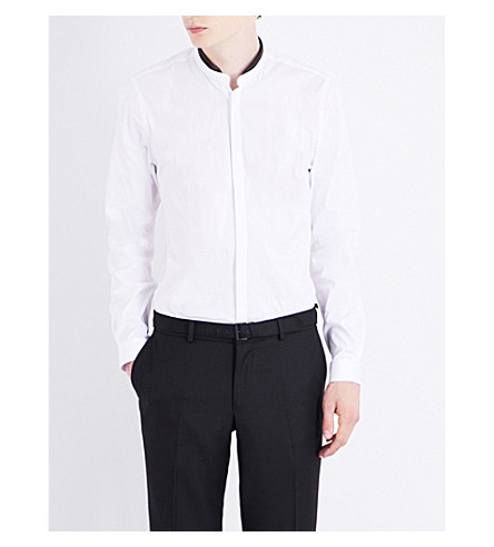 THE KOOPLES Contrast-collar fitted cotton shirt (Whi01