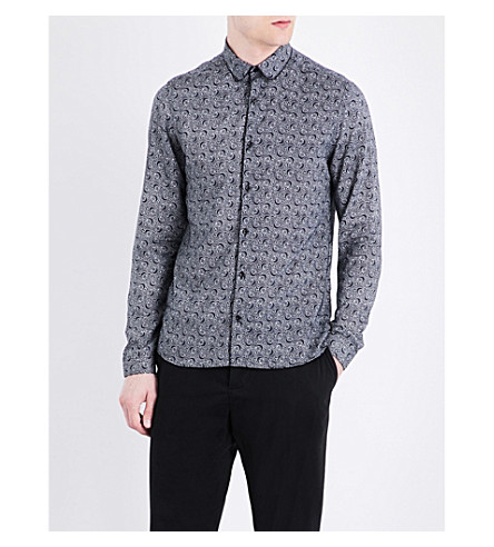 THE KOOPLES Swirl-pattern slim-fit woven shirt (Nav48