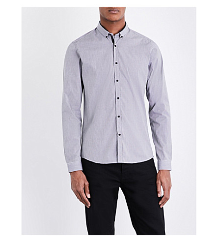 THE KOOPLES SPORT Vichy gingham fitted stretch-cotton shirt (Bla28