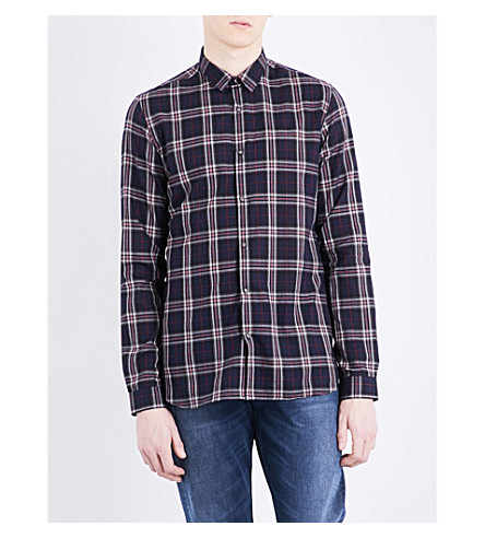 THE KOOPLES Checked fitted cotton shirt (Blu01