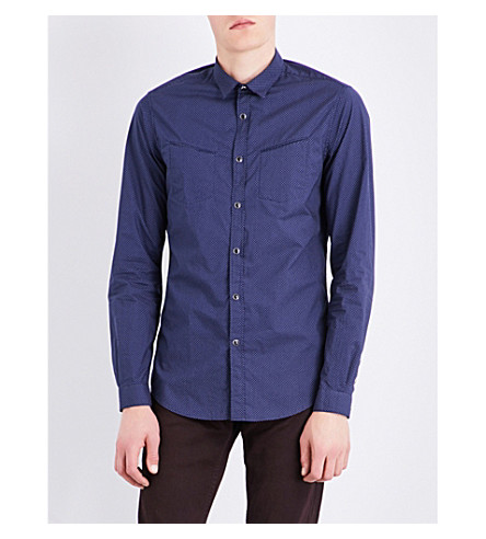THE KOOPLES SPORT Dotted check-print cotton shirt (Nav69