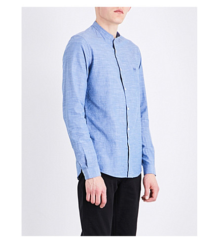 THE KOOPLES SPORT Logo-embroidered cotton shirt (Blu01