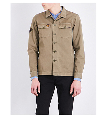 THE KOOPLES SPORT Badge-embroidered cotton shirt (Kak01