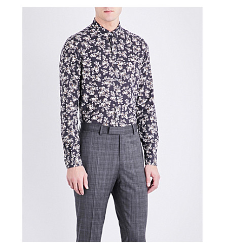 THE KOOPLES Floral-pattern slim-fit cotton-twill shirt (Gry50