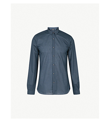THE KOOPLES Diamond circle-print fitted cotton shirt (Bla85
