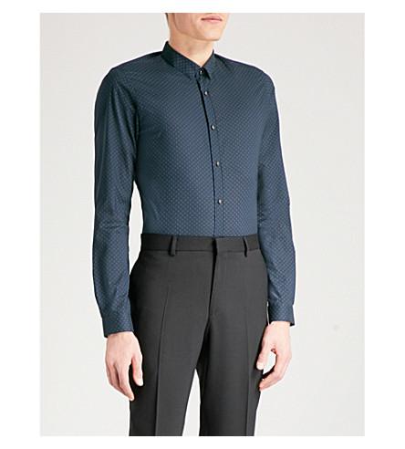 THE KOOPLES Diamond circle-print fitted cotton shirt (Bla85