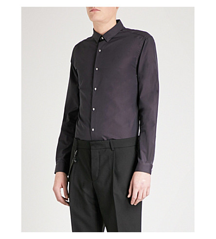 THE KOOPLES Striped fitted cotton-faille shirt (Bur01