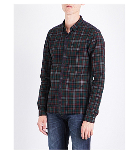 THE KOOPLES 格子花纹修身版型棉衬衫 (Grn32