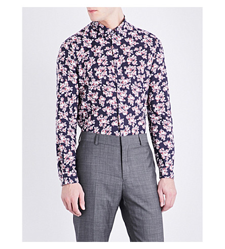 THE KOOPLES Floral-pattern slim-fit cotton-twill shirt (Nav41