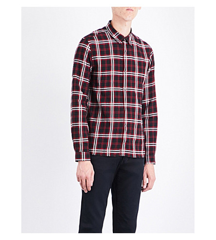 THE KOOPLES Tartan-pattern slim-fit cotton shirt (Bla83