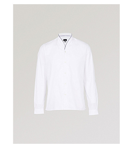 THE KOOPLES Shawl-collar fitted cotton-piqué shirt (Whi01