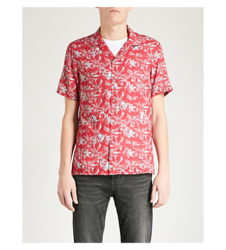 THE KOOPLES Palm and skull-print fitted poplin shirt (Red16