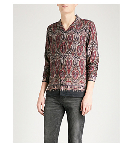 THE KOOPLES Paisley-print fitted twill shirt (Bla61