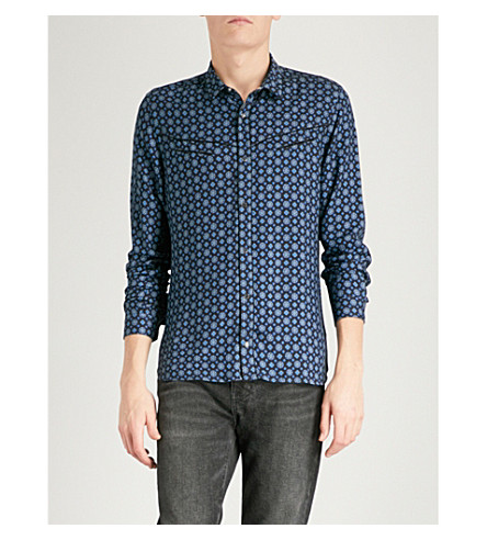THE KOOPLES Retro flower-print fitted twill shirt (Bla99