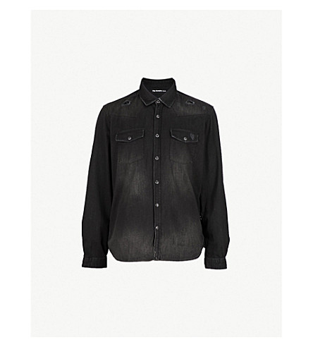 THE KOOPLES Distressed regular-fit denim shirt (Bla01
