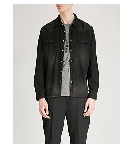 THE KOOPLES Distressed regular-fit denim shirt (Bla01