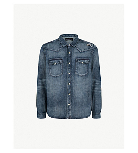 THE KOOPLES Distressed relaxed-fit denim shirt (Blu88